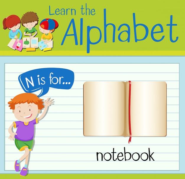 La lettera n di flashcard è per notebook