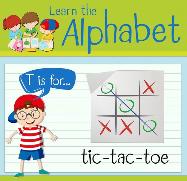 La lettera t di flashcard è per tic-tac-toe