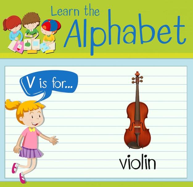 La lettera v di flashcard è per violino
