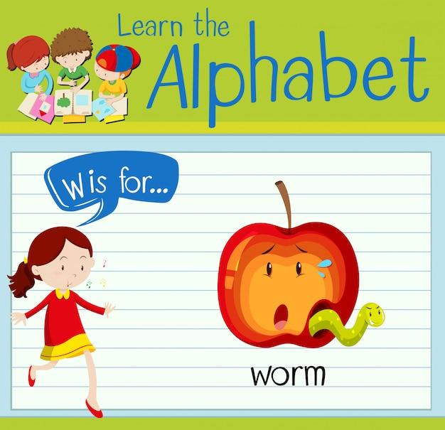 La lettera di flashcard w è per worm Vettore Premium