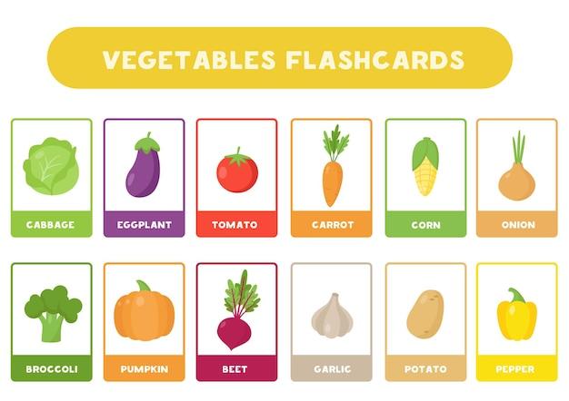Flashcard per bambini con verdure simpatico cartone animato. carte educative.
