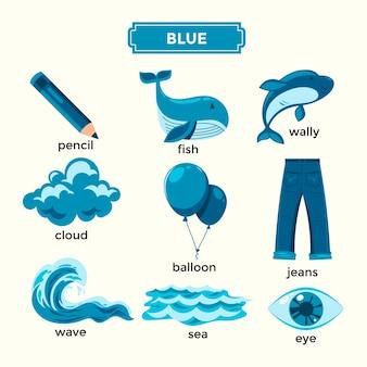 Flashcard per l'apprendimento dei colori blu e set di vocaboli