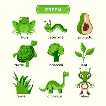 Flashcard per l'apprendimento dei colori verdi e set di vocaboli