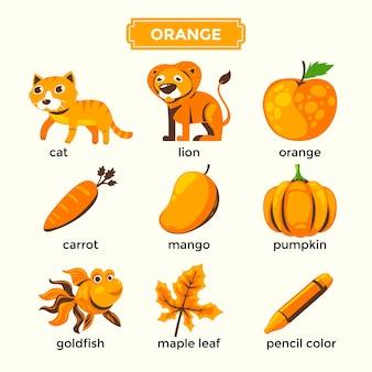 Flashcard per l'apprendimento dei colori arancioni e set di vocaboli