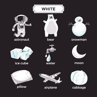 Flashcard per l'apprendimento dei colori bianchi e set di vocaboli