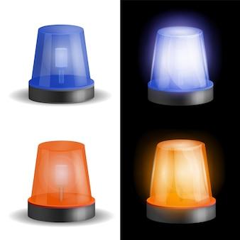 Set di mockup per sirena rossa e blu. illustrazione realistica di 4 lampeggiatori sirena rosso e blu modelli per il web