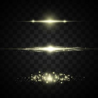 Lampi di luce su uno sfondo trasparente. raggi luminosi e linee luminose.