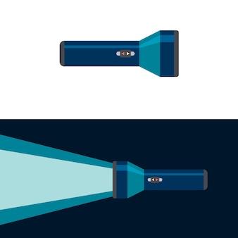 Torcia elettrica. posizione di accensione e spegnimento. illustrazione