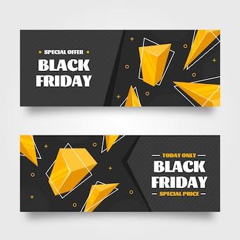 Set di banner orizzontali piatti 3d black friday