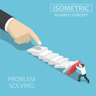Piatto 3d isometrico 3d uomo d'affari cercando di smettere di cadere domino. gestione delle crisi aziendali e concetto di soluzione.