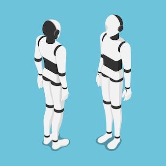 Piatto 3d isometrico ai robot davanti e dietro. intelligenza artificiale e concetto di apprendimento automatico.