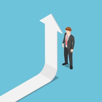 Piatto 3d isometrico la freccia si alza quando incontra l'uomo d'affari. successo aziendale e concetto di leadership.