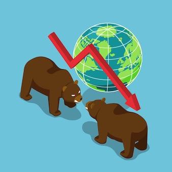 Orsi isometrici 3d piatti che combattono con il mondo e il grafico che cade. mercato azionario ribassista e concetto finanziario.