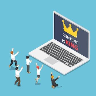 Gli uomini d'affari isometrici 3d piatti davanti al laptop con il contenuto sono il testo e la corona del re.