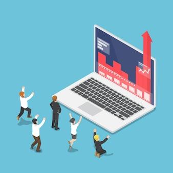 Uomini d'affari isometrici 3d piatti felici quando il grafico cresce attraverso il monitor del laptop. concetto di successo aziendale.