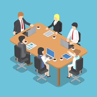Piatto 3d isometrico business people meeting, lavoro di squadra e business conference concept