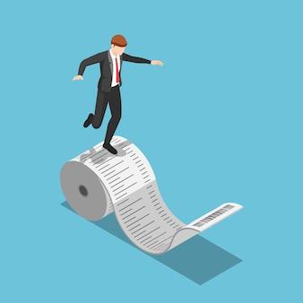 Piatto 3d isometrico uomo d'affari in equilibrio sul rotolo di ricevuta. concetto di debito e spese aziendali.