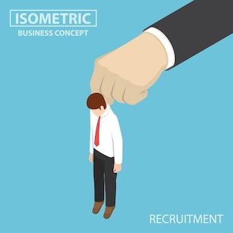 Uomo d'affari isometrico piatto 3d che viene raccolto da una grande mano. concetto di reclutamento.