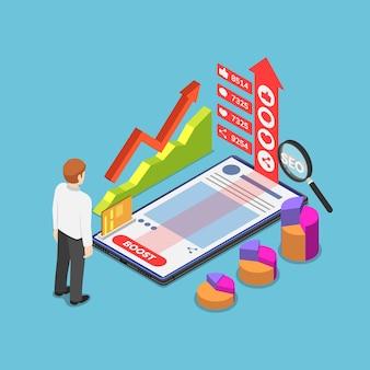 L'uomo d'affari isometrico 3d piatto aumenta i suoi contenuti facendo pubblicità sui social network e su internet. content marketing e concetto di pubblicità online.