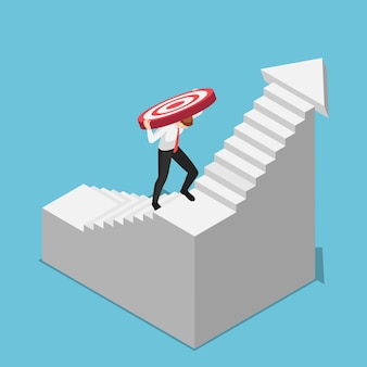 Piatto 3d isometrico uomo d'affari che trasporta bersaglio mentre sale verso l'alto sulle scale. obiettivo aziendale e concetto di sfida.