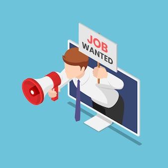 L'uomo d'affari isometrico 3d piatto esce dal monitor che tiene il megafono e il lavoro voleva il segno. concetto di ricerca di lavoro online.