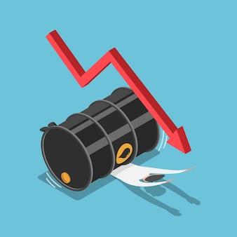 Piatto uomo d'affari isometrico 3d schiacciato dal barile di petrolio concetto di crisi finanziaria e del prezzo del petrolio