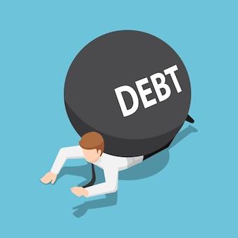 Uomo d'affari isometrico 3d piatto sotto la palla del debito. concetto di debito.