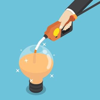 Piatto 3d isometrico uomo d'affari che riempie la lampadina dell'idea dall'ugello del carburante. concetto di idea imprenditoriale.