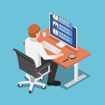 Piatto 3d isometrico uomo d'affari trova specialista freelance sul suo computer. concetto di servizio per liberi professionisti