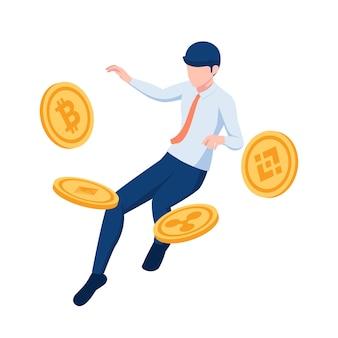Piatto 3d isometrico uomo d'affari che galleggia con il simbolo della moneta di criptovaluta. investimenti in criptovaluta e concetto di tecnologia blockchain.