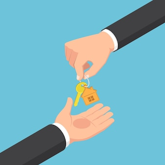 Mano isometrica piana dell'uomo d'affari 3d che dà il portachiavi con la chiave dorata della casa. concetto di bene immobile.