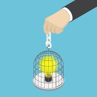 Gabbia per uccelli della tenuta della mano dell'uomo d'affari isometrica 3d piana con la lampadina dell'idea all'interno. concetto di idea.