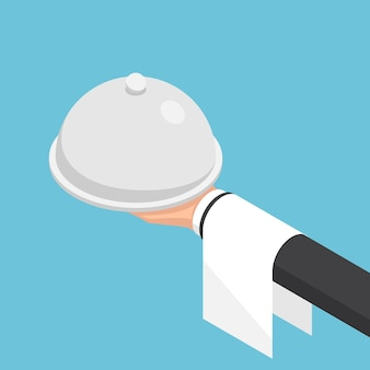 Piatto 3d isometrico mano d'affari che tiene cloche e vassoio. business e concetto di servizio di ristorazione.