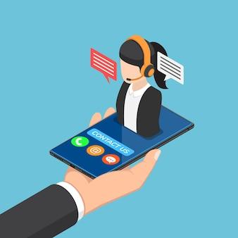Piatto 3d isometrico uomo d'affari mano che tiene smartphone con icona call center femminile. concetto di supporto del servizio clienti.