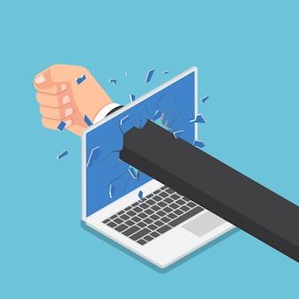 Piatto 3d isometrico uomo d'affari pugno a mano attraverso il monitor del computer portatile. stress e concetto arrabbiato.