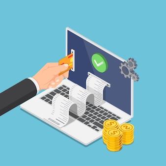 Piatto 3d isometrico uomo d'affari mano mettere la carta di credito sul monitor del laptop per pagare soldi online. pagamento online e concetto di trasferimento di denaro online.