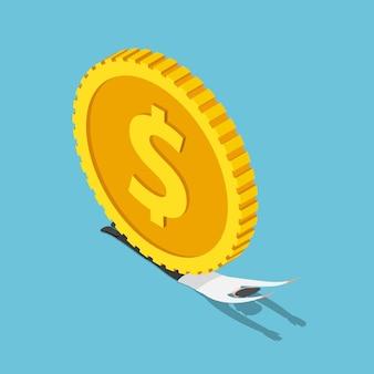L'uomo d'affari isometrico 3d piatto è stato schiacciato da enormi monete in dollari. concetto di crisi finanziaria ed economica.
