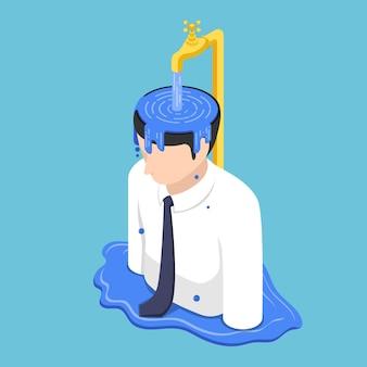 Piatto 3d isometrico uomo d'affari trabocca di testa dall'acqua dal rubinetto d'oro. metafora di persone che si riempiono di ego e non imparano più nulla di nuovo.