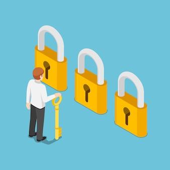 Piatto 3d isometrico uomo d'affari che tiene la chiave d'oro e pensa davanti a tre serrature dorate. scelta aziendale e concetto di opportunità.