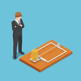 Piatto 3d isometrico uomo d'affari guardando la moneta del dollaro sulla trappola per topi. concetto di trappola per affari e denaro.