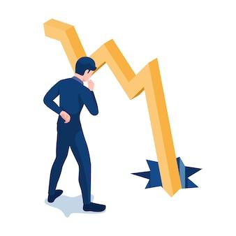 Piatto 3d isometrico uomo d'affari guardando il grafico che cade attraverso il pavimento. crisi d'impresa e concetto di analisi.