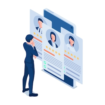 Piatto 3d isometrico uomo d'affari guardando curriculum online su smartphone. riprendi online e concetto di reclutamento.