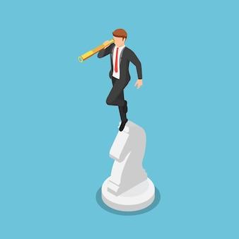 Uomo d'affari isometrico 3d piatto guardando attraverso il telescopio sugli scacchi a cavallo. visione aziendale e concetto di strategia.