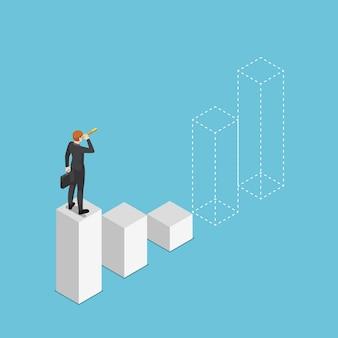 Uomo d'affari isometrico 3d piatto che guarda attraverso il telescopio e prevede il futuro del grafico a barre. visione aziendale e concetto di previsione del mercato azionario finanziario.