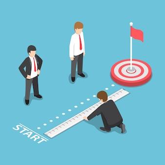 Uomo d'affari isometrico 3d piatto che misura la distanza tra il punto di partenza e il bersaglio. concetto di analisi dell'obiettivo aziendale