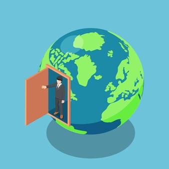 L'uomo d'affari isometrico 3d piatto apre la porta ed esce dall'interno del mondo. leadership aziendale e concetto di visione.