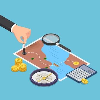 Piatto 3d isometrico uomo d'affari che pianifica la strada per il successo sulla mappa del tesoro con bussola, calcolatrice, lente d'ingrandimento. concetto di pianificazione aziendale.