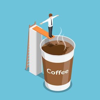 Uomo d'affari isometrico 3d piatto pronto a saltare in una tazza di caffè. concetto di pausa caffè.