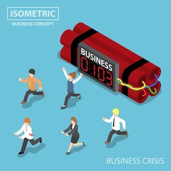 Uomo d'affari isometrico piatto 3d scappa dalla bomba del timer di affari, dalla crisi aziendale e dal concetto di scadenza