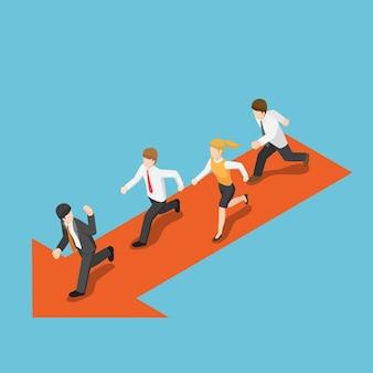 L'uomo d'affari isometrico 3d piatto esegue il leader seguente. concetto di leadership aziendale.